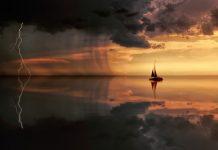 barcă, mare, furtună