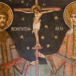 Sfinții Împărați și întocmai cu Apostolii, Constantin și mama sa, Elena. 21 mai. Constantinopol. Frescă Mănăstirea Hurezi.
