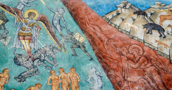 Înfricoșătoarea Judecată. Detaliu din fresca de la Mănăstirea Voroneț