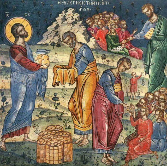Duminica a VIII-a după Rusalii - Minunea înmulțirii pâinilor. săturare cinci mii de bărbați. pește