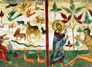 Adam pune nume animalelor și facerea Evei, frescă, Sucevița