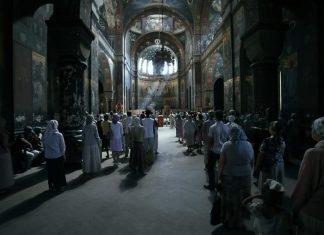 Biserică,popor,oameni,rugăciune,slujbă,mistic