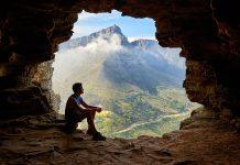 peșteră, om, singurătate, peisaj, vale