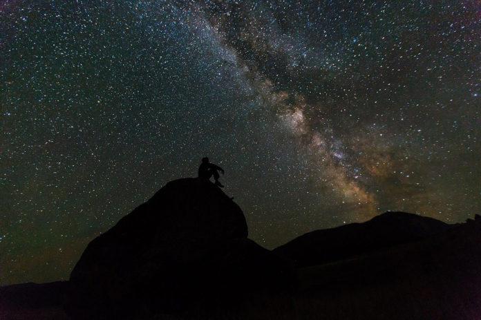 cer, stele, galaxie, meditație, contemplare, singur, om