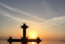 Cruce pe Muntele Athos, apus de soare, răstignire, Aghion Oros