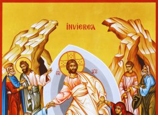 Pogorârea la iad (icoană pictată la Mănăstirea Putna), Învierea Domnului