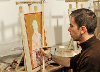 Pictare icoană, tabără de iconografie, Mănăstirea Putna