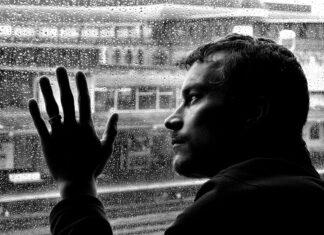durere, bărbat, geam, ploaie, suferință