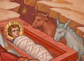 Nașterea Domnului (frescă de Mihai și Gavril Moroșan, Mănăstirea Putna)